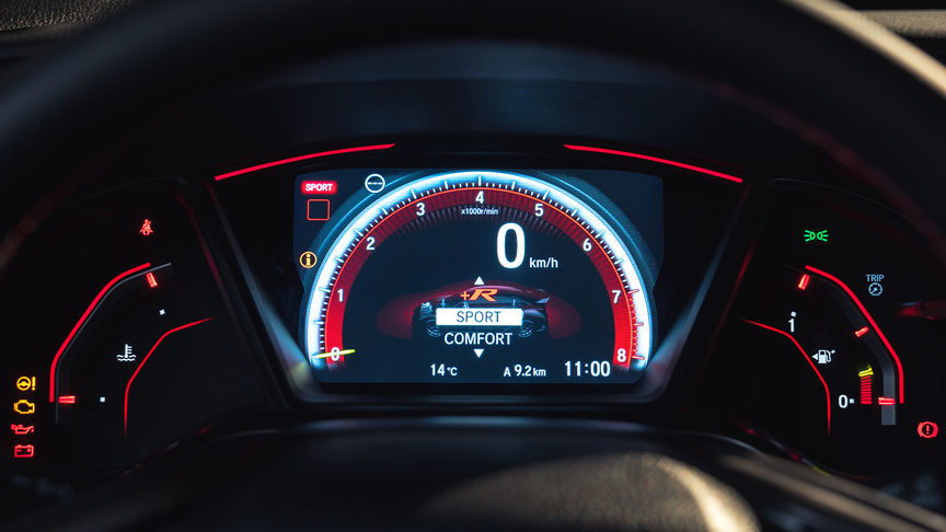 Nærbilde av Honda Civic Type R Integrated Meter Display
